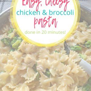 cheesy chicken broccoli pasta in bowl