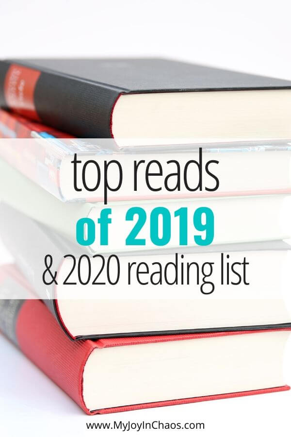 stack of books with words top reads of 2019 & 2020 reading list