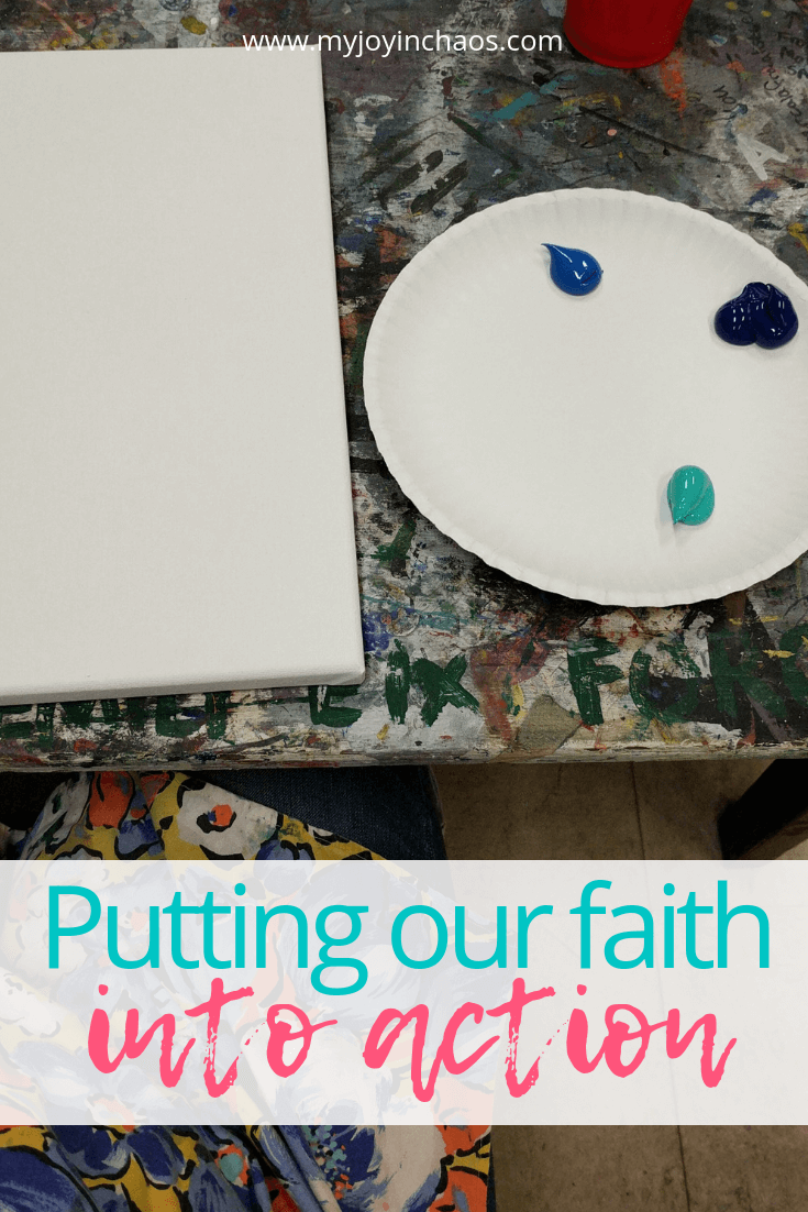 painting canvas and paint on plate