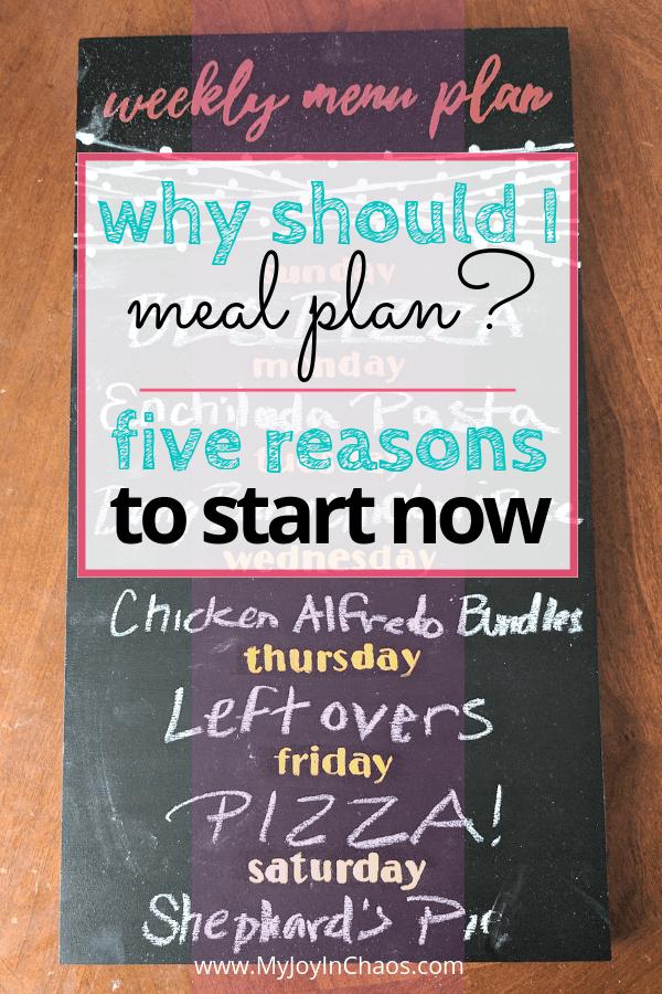 meal planning chalkboard