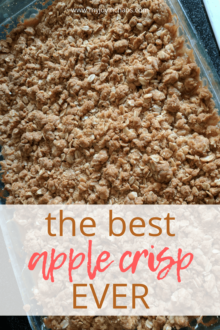 homemade apple crisp in pan