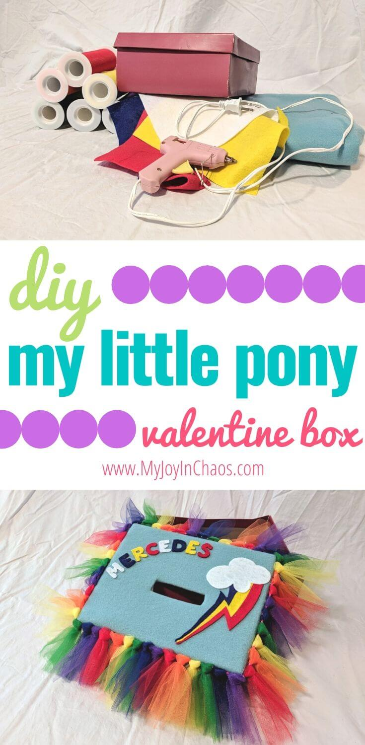 materials and finished my little pony valentine box