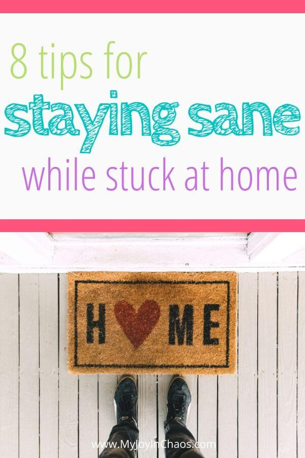 home welcome mat with title tips for staying sane while stuck at home