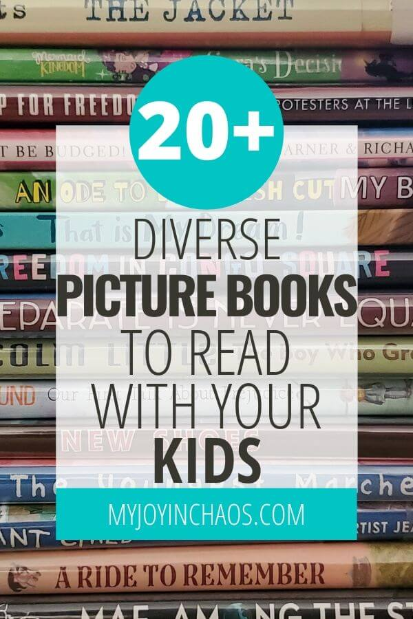 stack of diverse books for kids